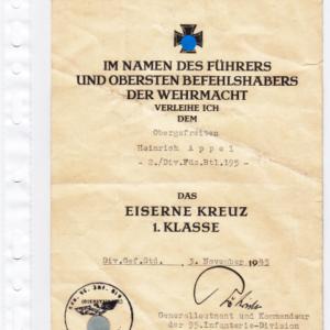 Verleihungsurkunde zum Eisernen Kreuz 1. Klasse- VERKAUFT-0