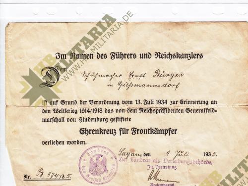 Urkunde für Ehrenkreuz Frontkämpfer-0