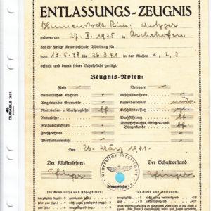 Schulentlassungszeugnis aus dem 3. Reich-0