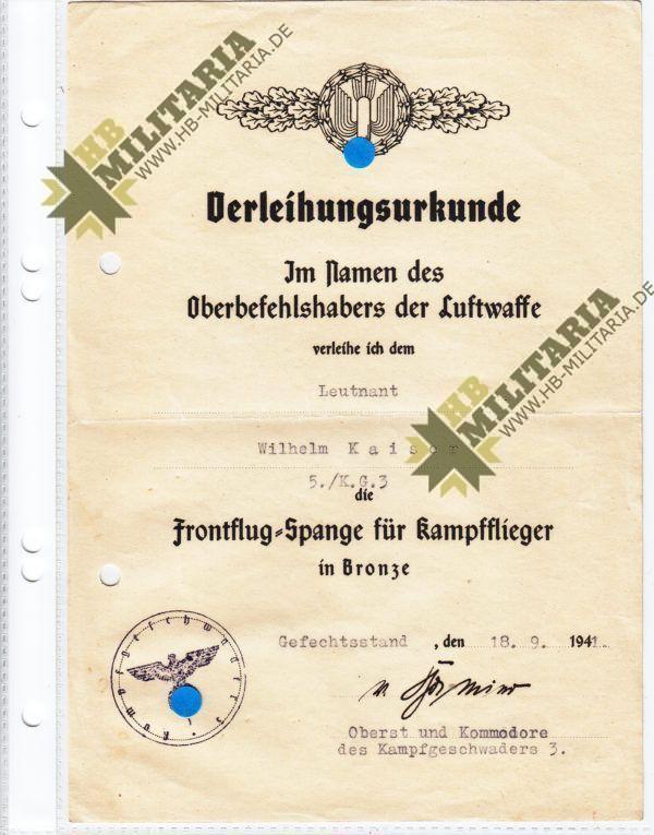 Verleihungsurkunde für Frontflugspange bronze-0