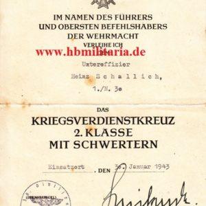Urkunde zum Kriegsverdienstkreuz 2. Klasse mit Schwertern-0