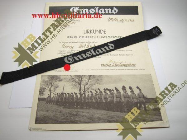 Schmuck- Verleihungskukunde zum Ärmelband Emsland, ausgestellt in Melle mit Ärmelband.-0