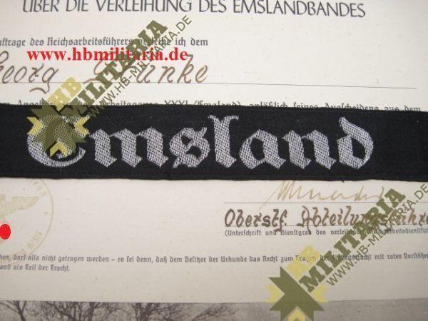 Schmuck- Verleihungskukunde zum Ärmelband Emsland, ausgestellt in Melle mit Ärmelband.-2659