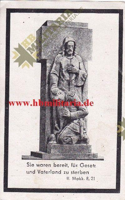 Sterbebild Gefreiter gefallen 1943 bei Charkow-3044
