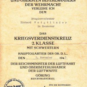 LW Urkunde zum KVK 2. Klasse mit Schwerter-0