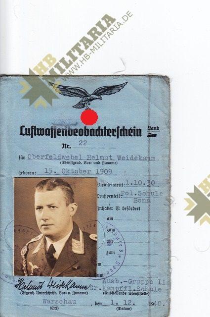 Nachtjagdraumführer 2: Luftwaffenbeobachterschein mit Dokumente und Fotos.-3594