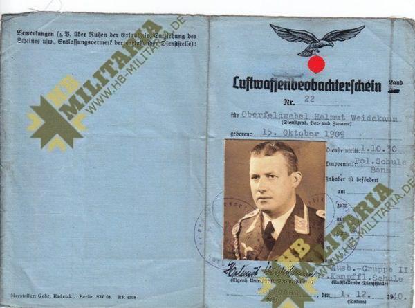 Nachtjagdraumführer 2: Luftwaffenbeobachterschein mit Dokumente und Fotos.-3596