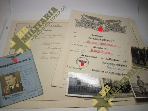 Nachtjagdraumführer 2: Luftwaffenbeobachterschein mit Dokumente und Fotos.-0