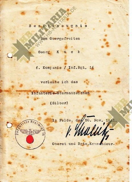 Grosser Nachlass eines Obergefreiten im Infanterie Regiment 16.-3855