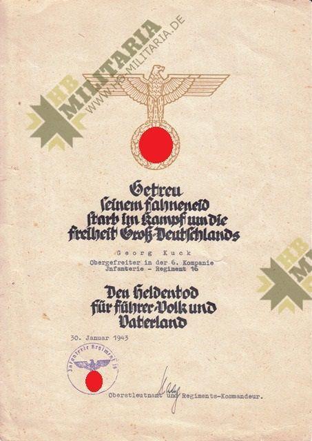 Grosser Nachlass eines Obergefreiten im Infanterie Regiment 16.-3861