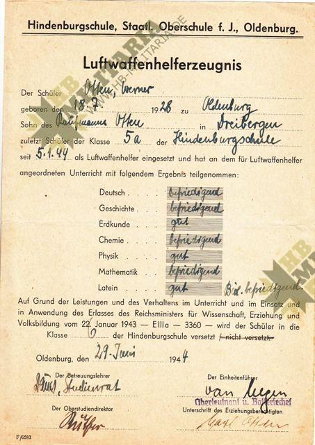 Dokumentennachlaß eines Luftwaffenhelfers in einer Flakbatterie aus dem Raum Oldenburg-4656