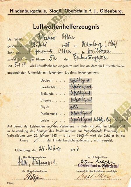 Dokumentennachlaß eines Luftwaffenhelfers in einer Flakbatterie aus dem Raum Oldenburg-4658