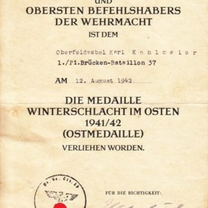 3er Urkundengruppe u.a. mit Unterschrift General der Panzertruppe Knobelsdorff und Urkunde KVK 12. Armee List-4673