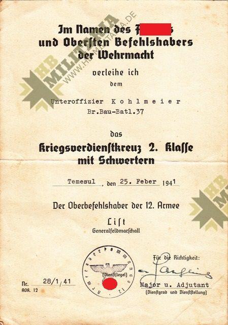 3er Urkundengruppe u.a. mit Unterschrift General der Panzertruppe Knobelsdorff und Urkunde KVK 12. Armee List-4675