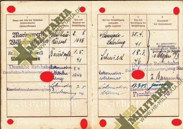 Arbeitsbuch Kriegsmarinewerft Wilhelmshaven + Urkunde + Zeugnis-4643