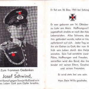 Sterbebild: Gefallen mit 26 Jahren an der Ostfront im Dez. 1941 bei Schirajewo.-0