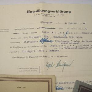 Dokumente Nachlass einer Angehörigen vom Reichsarbeitsdienst ( RAD, weibliche Jugend )-5061