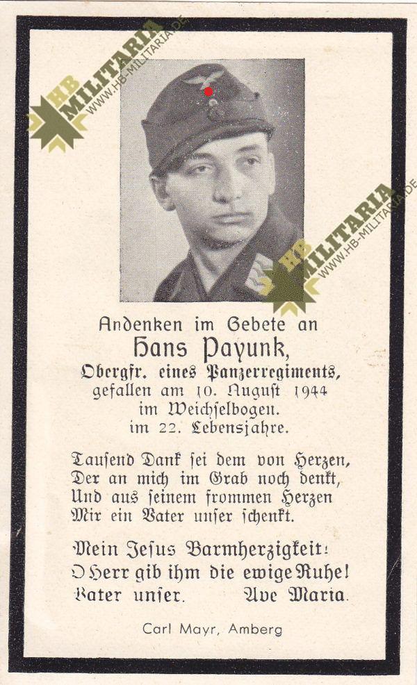 Sterbebild eines Obergefreiten in einem Panzerregiment + 1944-0