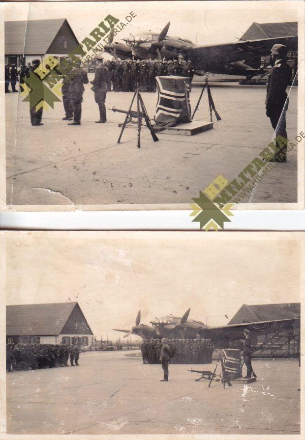 3x Fotos Vereidigung Luftwaffe auf Flugplatz vor HE111-0