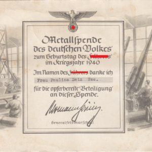 Urkunde Metallspende des deutschen Volkes, zum Geburtstag des F... im Kriegsjahr 1940-0