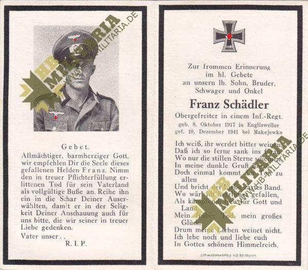 Sterbebild eines Obergefreiten in einem Infanterie Regiment-0