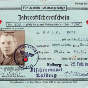 Jahresfischereischein Kolberg 1942-0