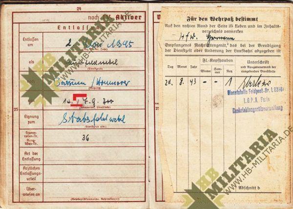 Wehrpass Luftwaffe. ZG 76, JG 76, JG 300 ( Wilde Sau )- VERKAUFT-7687