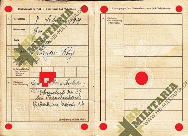 2x Arbeitsbücher + 1x Kennkarte aus dem Raum Eger/ Tachau. Sudetengau, heute Tschechien. Sešity + 1x 2x identifikační kartu od pokoje Eger / Tachau. Sudety, dnes Česká republika.-7710