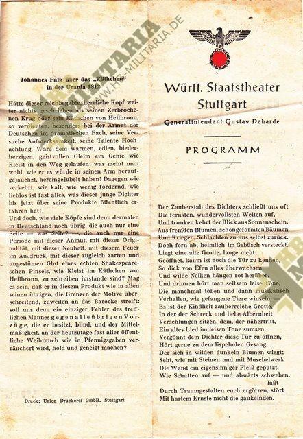 Programm des württembergischen Staatstheater Stuttgart-7722