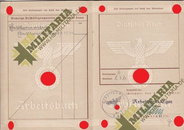Arbeitsbuch aus dem Raum Eger/ Tirschnitz. Sudetengau. Pracovní sešit z místnosti Eger / Tirschnitz. Sudetengau.-7728