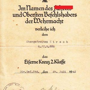 Urkunde zum Eisernen Kreuz 2. Klasse 1939-0