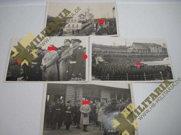 4x Fotos vom 12.12.1933 Empfang des leichten Kreuzers Köln in Wilhelmshaven durch den Führer.-0