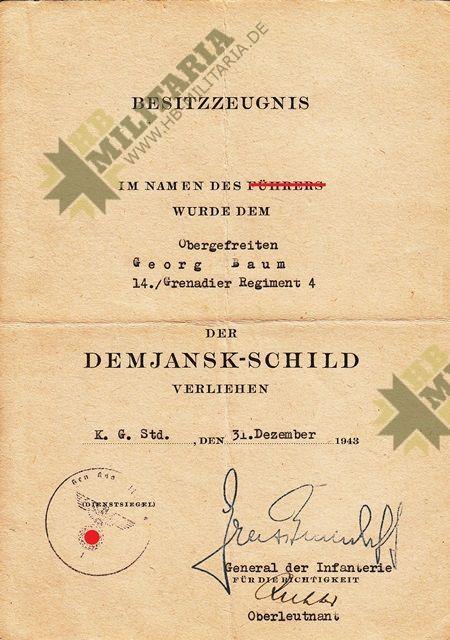 Dokumentennachlass eines Obergefreiten im Grenadier Regiment 4-8457