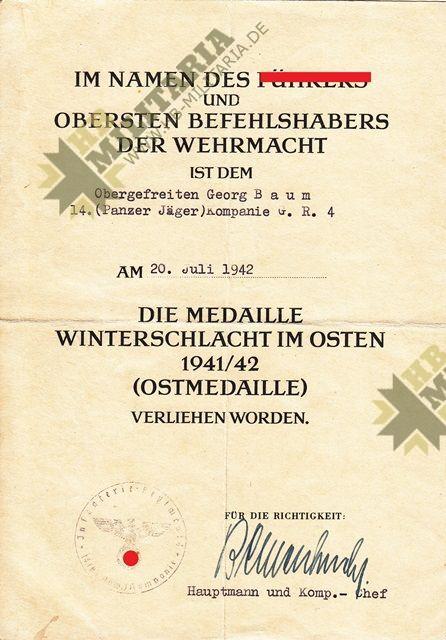 Dokumentennachlass eines Obergefreiten im Grenadier Regiment 4-8458
