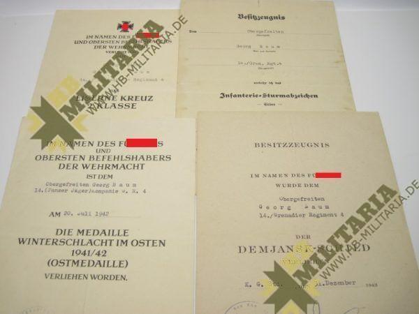 Dokumentennachlass eines Obergefreiten im Grenadier Regiment 4-0