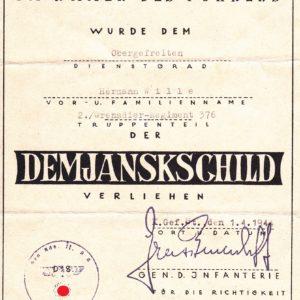 Urkunden- Nachlass Demjansk-9401