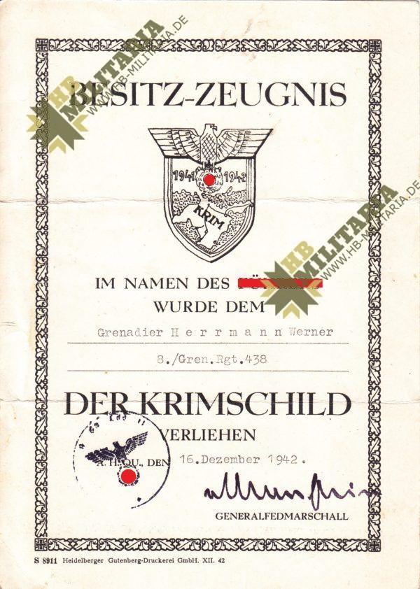 Besitzzeugnis Krim Schild, Dokumentennachlass-9639