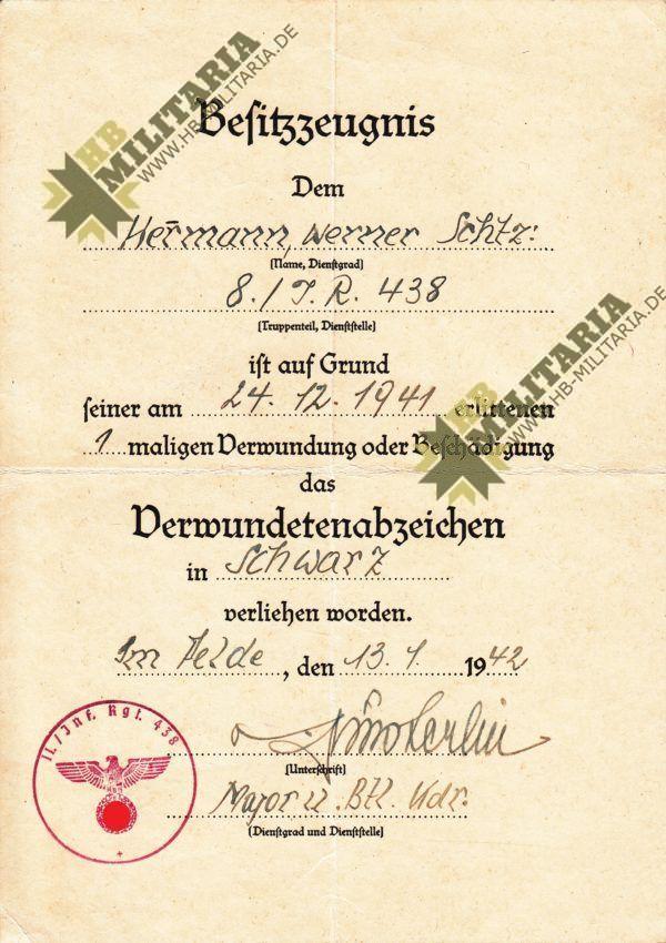 Besitzzeugnis Krim Schild, Dokumentennachlass-9640