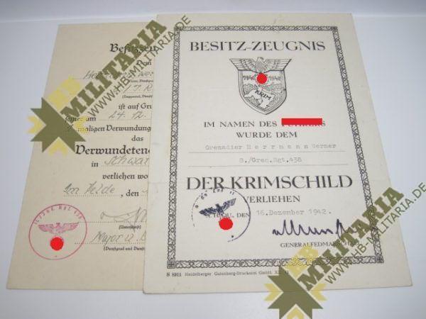 Besitzzeugnis Krim Schild, Dokumentennachlass-0