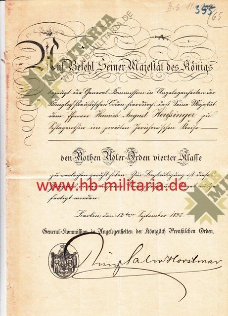 Verleihungskurkunde Roter Adler Orden 4. Klasse-0