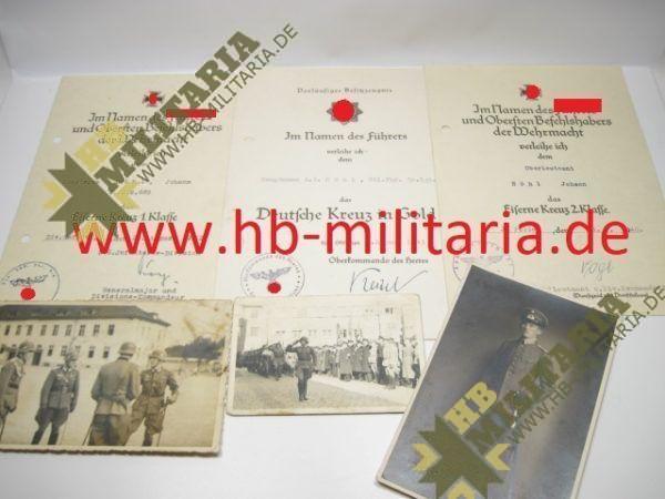 Deutsches Kreuz in Gold Nachlass eines Hauptmann`s im Grenadier Rgt. 689.-0