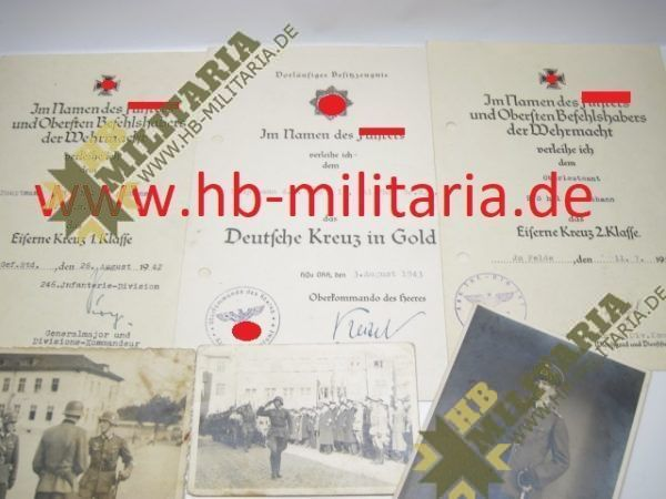 Deutsches Kreuz in Gold Nachlass eines Hauptmann`s im Grenadier Rgt. 689.-11729
