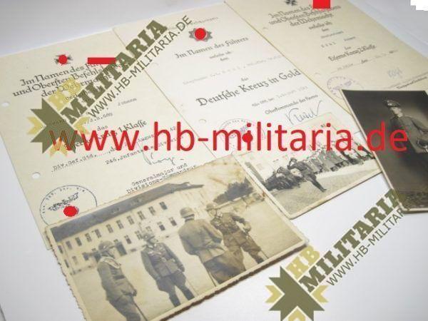 Deutsches Kreuz in Gold Nachlass eines Hauptmann`s im Grenadier Rgt. 689.-11730
