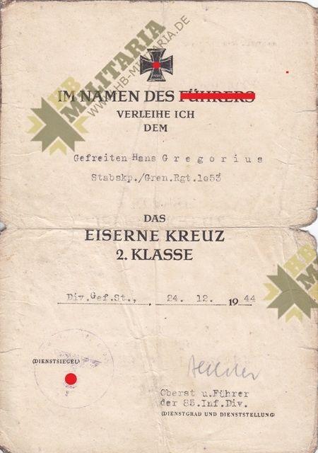 Kleine Urkundengruppe eines Gefreiten in der 85. Inf. Div. von Oberst u. Ritterkeuzträger Oberst Helmut Bechler.-11832