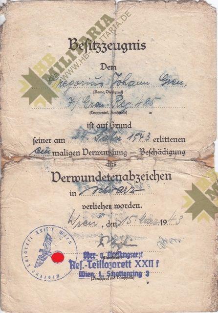 Kleine Urkundengruppe eines Gefreiten in der 85. Inf. Div. von Oberst u. Ritterkeuzträger Oberst Helmut Bechler.-11833