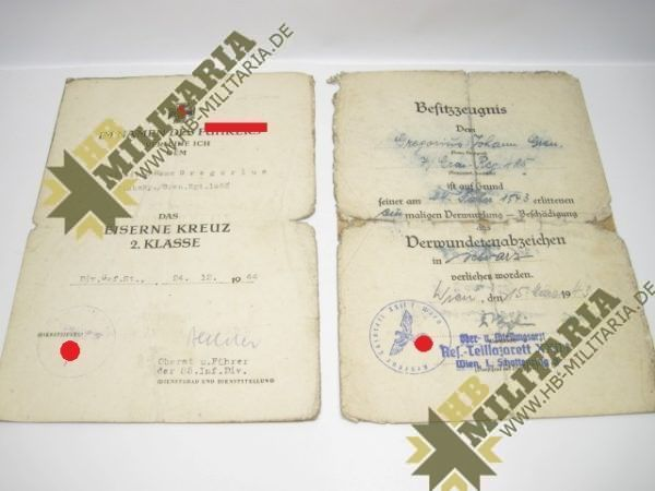 Kleine Urkundengruppe eines Gefreiten in der 85. Inf. Div. von Oberst u. Ritterkeuzträger Oberst Helmut Bechler.-0