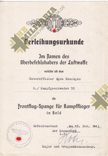 Dokumentennachlass Luftwaffe KG55. Kampfgeschwader 55-11924