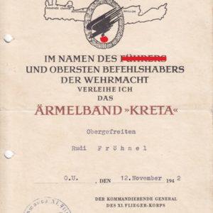 Urkundennachlass: Ärmelband Kreta 1942, Ostmedaille. -12168