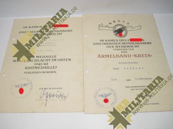 Urkundennachlass: Ärmelband Kreta 1942, Ostmedaille. -0