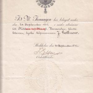 IMG 300x300 - Urkunde Schweden: Königlicher Wasa Orden. Ritterkreuz.